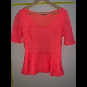 EUC Neon Orange 3/4 Sleeve Peplum Top